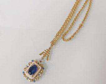 Vintage Coro Blue Pearl Pendant Necklace