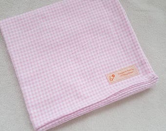 Pink Gingham Flannel Baby Blanket