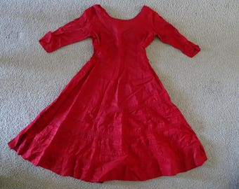VINTAGE Red Spanish Swing Dress