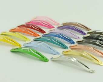 10 Blank BARRETTE Snap Clips w/ Glue Pads CHOOSE COLOR (Tear Drop Shape) 50 mm/2 inches