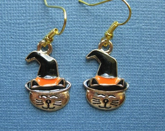 Cat Earrings - Cat Earrings - Dangle Earrings - Halloween Earrings - Halloween Jewelry - Earrings - Holiday Earrings - Halloween - E120
