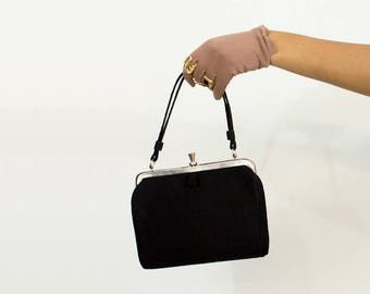 50s Black n Metal Handbag / Mini Purse