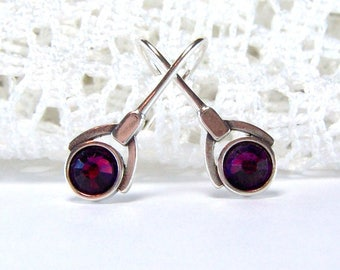 Sterling silver amethyst rhinestone earrings / french hook earrings / art deco style / February birthstone / purple / gift for her