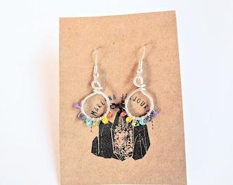 rainbow reset hoops, small size, sterling silver hoops, handmade jewelry, handmade earrings, hoop earrings, wholesale earrings,