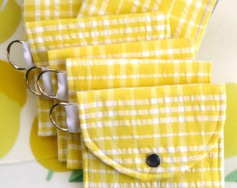 Yellow seersucker Coin Purse for spring and summer, Mini wallet Keychain wallet Vegan wallet, Mother's day gift for her under 10 dollars