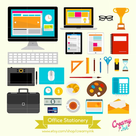 office stationery digital vector clip art desk stationeries rh etsy com office supplies clipart black and white Office Equipment