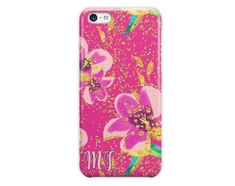 Custom monogrammed iPhone 7 case, Purple faux foil flowers, Floral Iphone case,  For 4/4s 5/5s 6/6s 7 8 5c SE and Plus (1792)