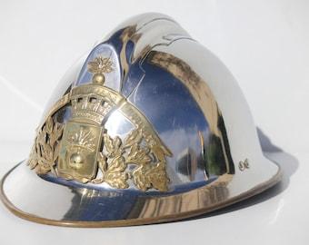 French Firemans helmet, vintage French Pompiers hat, 1920's,Antique French metal hat, helmet,hat
