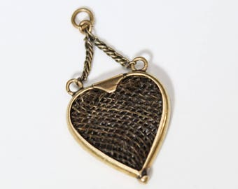 Antique Victorian Hair Work Heart Shaped Mourning Pendant