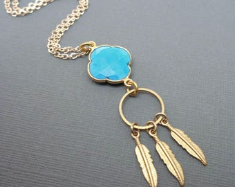 Southwest Turquoise Feather Necklace / Natural Turquoise Gold Feathers / Drop Feather Necklace / December Birthstone / Blue Gold //BE43