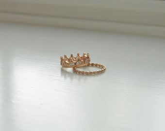 Princess Crown Ring, 14K Gold Diamond Crown Ring, 14K Tiara Ring, Rose Gold Ring, Solid Gold Ring