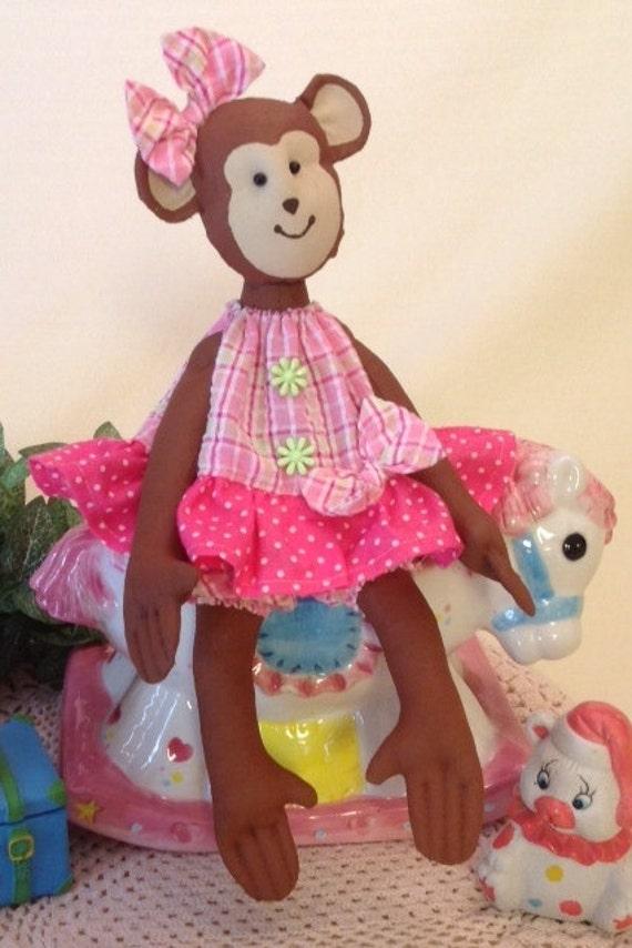 Baby Monkey - Cloth Doll E-Pattern Pretty Little Baby Girl Monkey sewing pattern