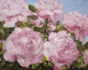 Original Acrylic Roses Painting, Flowers painting, small painting, botanical art, garden painting