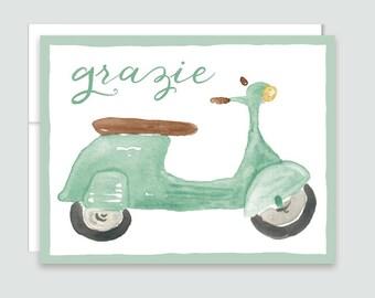Vespa Grazie Thank You Notes - Italian Thank You Cards - Italy Thank You Cards - Grazie Cards - Vintage Vespa Card - Moped Thank You Card