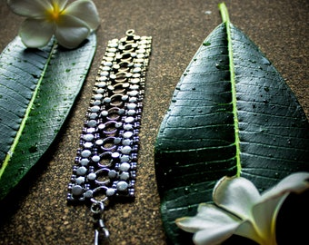 indian tribal oxidized  sterling silver bracelet