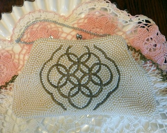 Sharonee Pearl Evening Bag Handmade Vintage Sharonee Purse Wedding Purse Prom Purse Pearl Beaded Purse Hand Beaded Purse MINT