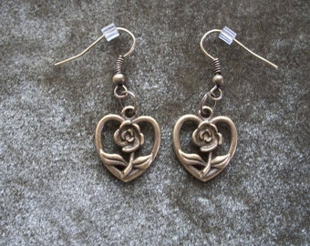 Bronze Necklace and Earrings, Heart with Flower Center Charm, by Brendas Beading on Etsy