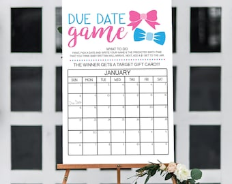 INSTANT DOWNLOAD - Due Date Game 16x20 Poster File, , Gender Reveal Party, Guess the Due Date Game, Prediction Calendar, Baby Shower Game