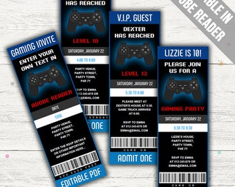 Video Game Ticket Invitation (Gamer Party Invitation). Editable PDF. Printable. Instant Download.