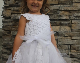 CROCHET DRESS PATTERN: Flower Girl Dress, First Communion Dress, Crochet Tutu, 'Mary's Dress'