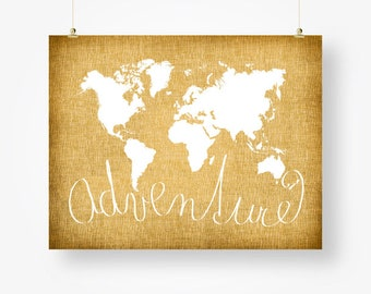 world map tan brown adventure poster download, world map digital print, tan brown wall decor, adventure sign, large world map pdf, for him