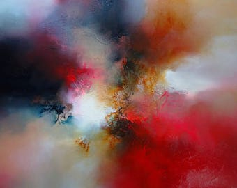 "Powerful Statement Abstract Mixed Media Painting by Professional Artist Simon Kenny ""Then Came The Day"""