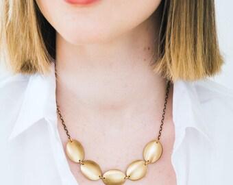 Golden Brass Pebble Necklace, Brass Pendant Necklace, Gold Pendant necklace, Gold Choker, Minimalist Statement Necklace