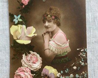 European 1920s Hand Tinted Real Photo Postcard, Pastel, Flapper, Colorized, Girl, Woman, Flowers, Antique Ephemera, RPPC, Vintage, Romantic