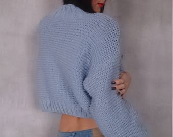 Crop Sweater, Knit Sweater Crop, Crop Top Sweater, Knitted Sweater, Cropped Sweater, Knit Jumper, Hands Crop Top, Baby Blue Sweater, Top, XS
