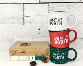 Camp Mug, Coffee Mug, Ceramic Mug, 13 oz. Stoneware Mug, Campfire Mug, White, Green, Red Mug, Cabin Decor, Camp Gifts, Northwoods Decor