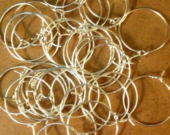 50 Wine Glass hoop Identifiers 20mm - Bright Silver Plated