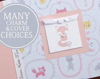 Baby Memory Book | Animals Baby Book | Personalized Baby Album & Journal | Baby Girl Book | Sweet Little Animals with Fox Charm