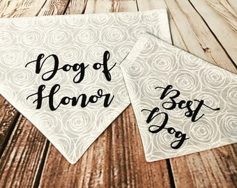 Reversible Wedding Over the Collar Dog Bandana. Best Dog and Dog of Honor Personalized