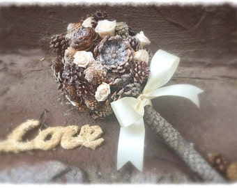 Winter Bridal Bouquet - Pine Cone Bridal Bouquet - Rustic Bouquet - Alternative Bridal Bouquet - Winter Wedding