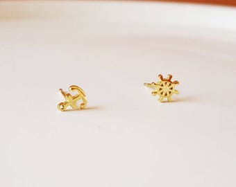 Sterling Silver. Dainty Anchor and Nautical Set Earring. Silver in Gold