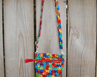 Autism / Crossbody Bag / Crossbody Phone Case / Phone purse / 7 Plus Case / Phone Wallet / Go Pouch / Ready to Ship / StitchPaint / Puzzle