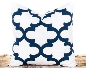 Sofa Pillows, Decorative Pillow Covers, Navy Pillow Covers, Navy and White, Throw Pillow Covers, Trellis Pillows, Pillow Shams