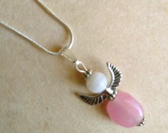 Pink Stone Angel Pendant, Silver Plated Pendant, Cancer Awareness, Oval Stone White Opalite Angel - Guardian Angel by enchantedbeads on Etsy