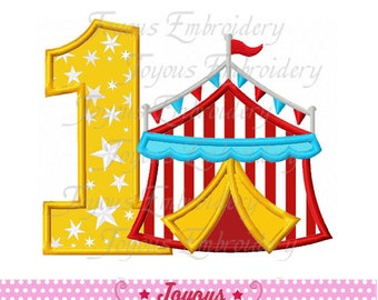Instant Download Circus Tent Number 1 Applique Machine Embroidery Design NO:2463
