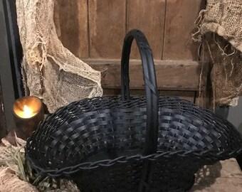 Primitive Basket Old Vintage Basket Painted Black Farmhouse Cabin