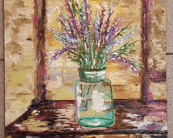 Original One of a Kind Oil Impressionist Contemporary Painting Flowers Lavanda Still Life Gift