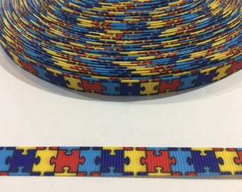 3 Yards of Ribbon 3/8 inch Wide - Autism Awareness Puzzle Pieces