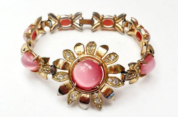 pink  Glass  flower Link Bracelet - gold plated -clear rhinestone -  mid century  floral aqua glass cabochon  tennis bracelet