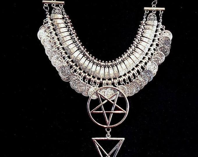 Ritual Magick Neckpiece - occult left hand path pentagram sigil of lucifer necklace magic goth gothic