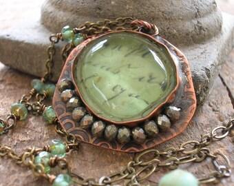 Beach glass jewelry - Castaway - artisan soldered jewelry, boho jewelry, sea glass pendant, summer, beach jewelry, copper jewelry, nautical
