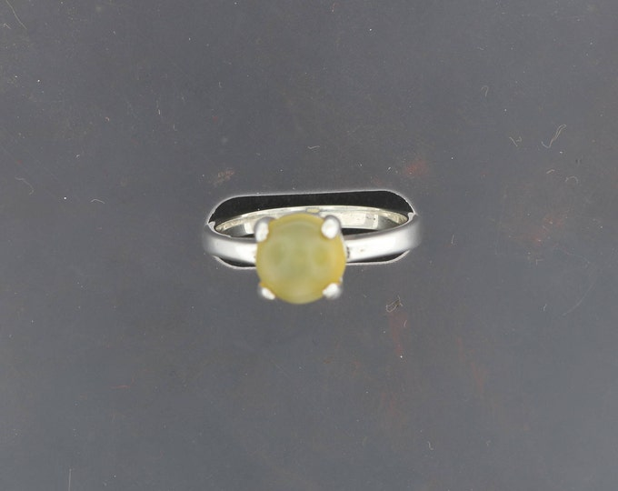 Sterling Silver Solitaire Ring With Yellow Moonstone