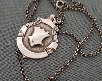 Antique sterling silver watch fob pendant, Award Fob - 2