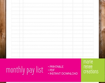 NEW - Monthly Pay List - Blank - Printable