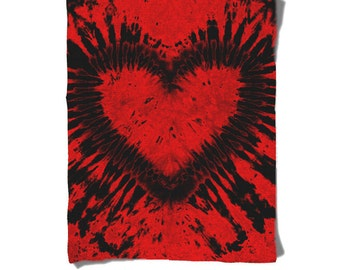 Fleece Blanket-Red Black Heart-Tie Dye Blanket-Hippie-Winter Cozy Warm-Decorative Fleece Blanket-Baby Blanket-Medium Large Blanket
