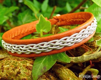 Unisex Leather Wristband DAIN Sami Viking Bracelet Cuff Custom Handmade in bark tanned Reindeer, decorated with Pewter Braid